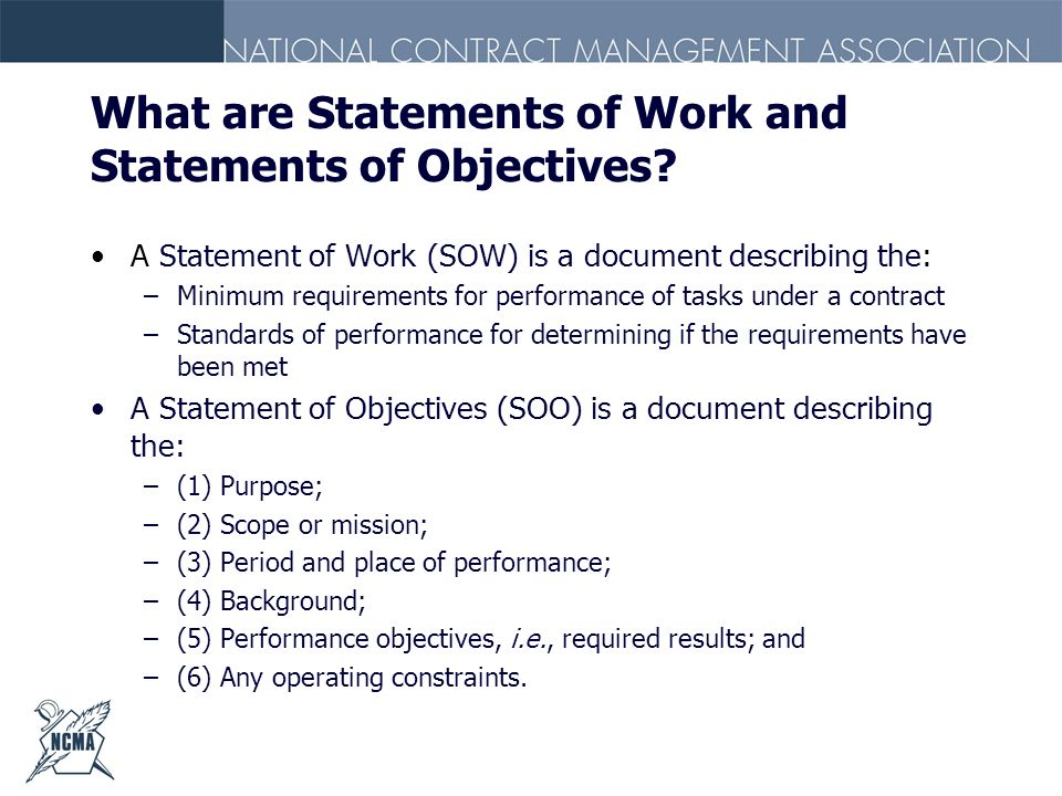 What are Statements of Work and Statements of Objectives