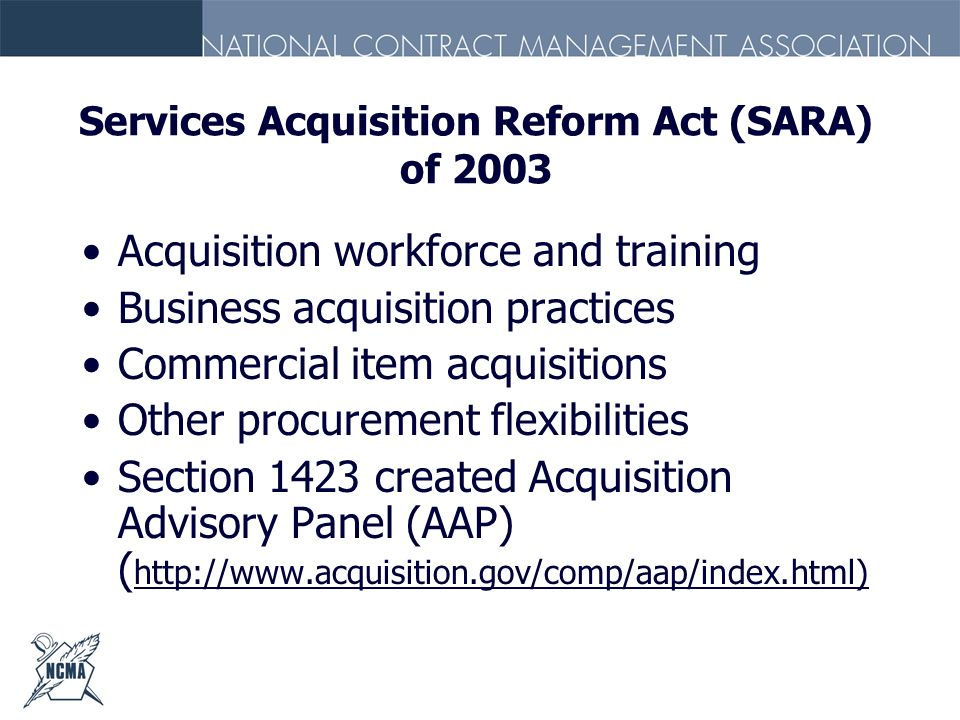 Services Acquisition Reform Act (SARA) of 2003