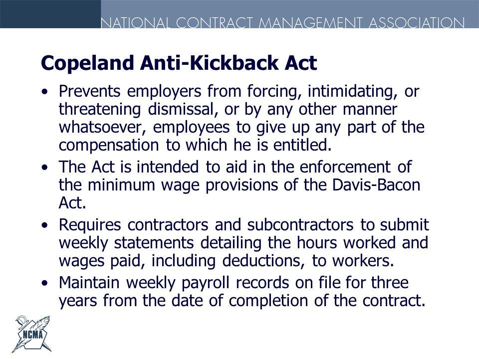 Copeland Anti-Kickback Act
