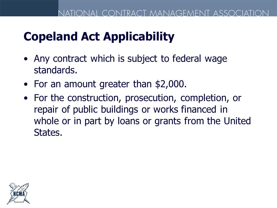 Copeland Act Applicability