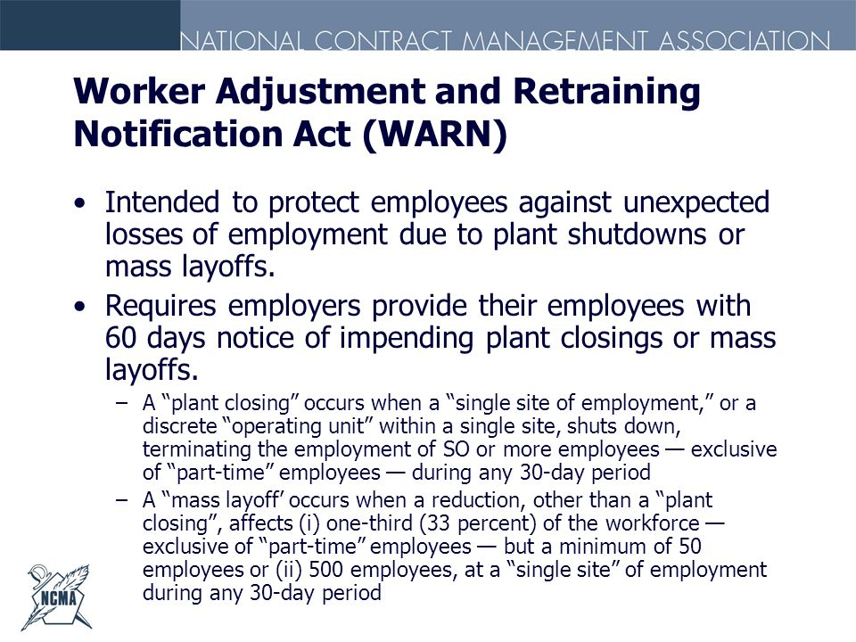Worker Adjustment and Retraining Notification Act (WARN)