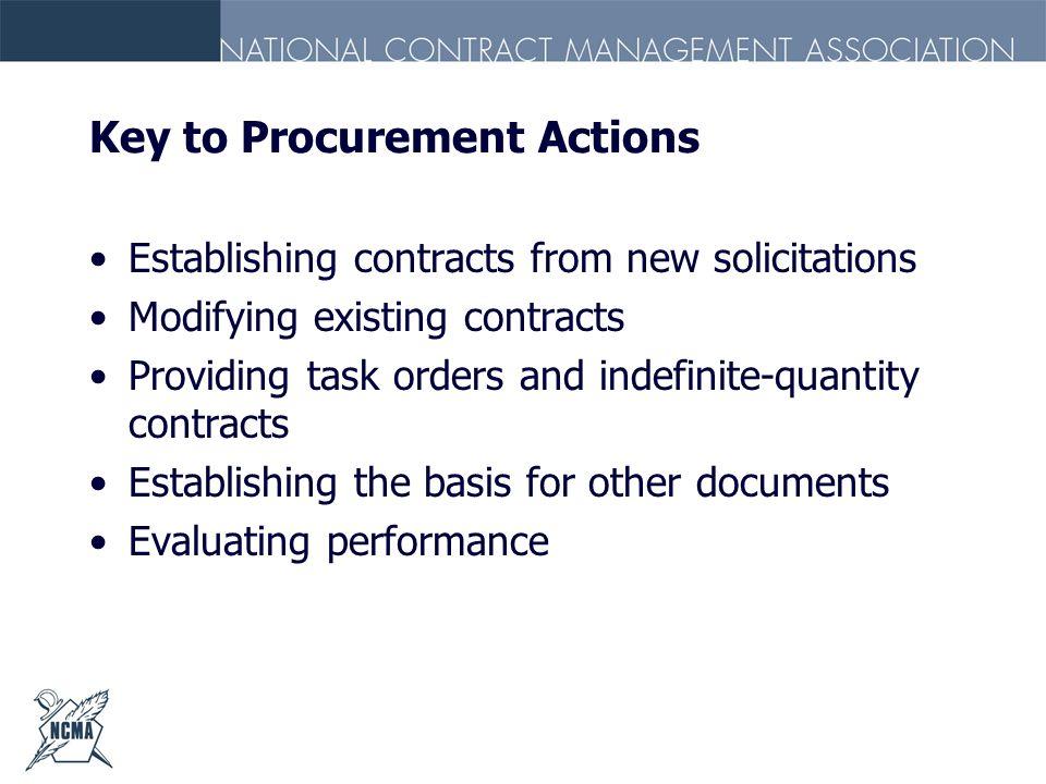 Key to Procurement Actions