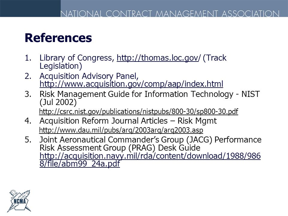 ReferencesLibrary of Congress, http://thomas.loc.gov/ (Track Legislation) Acquisition Advisory Panel, http://www.acquisition.gov/comp/aap/index.html.