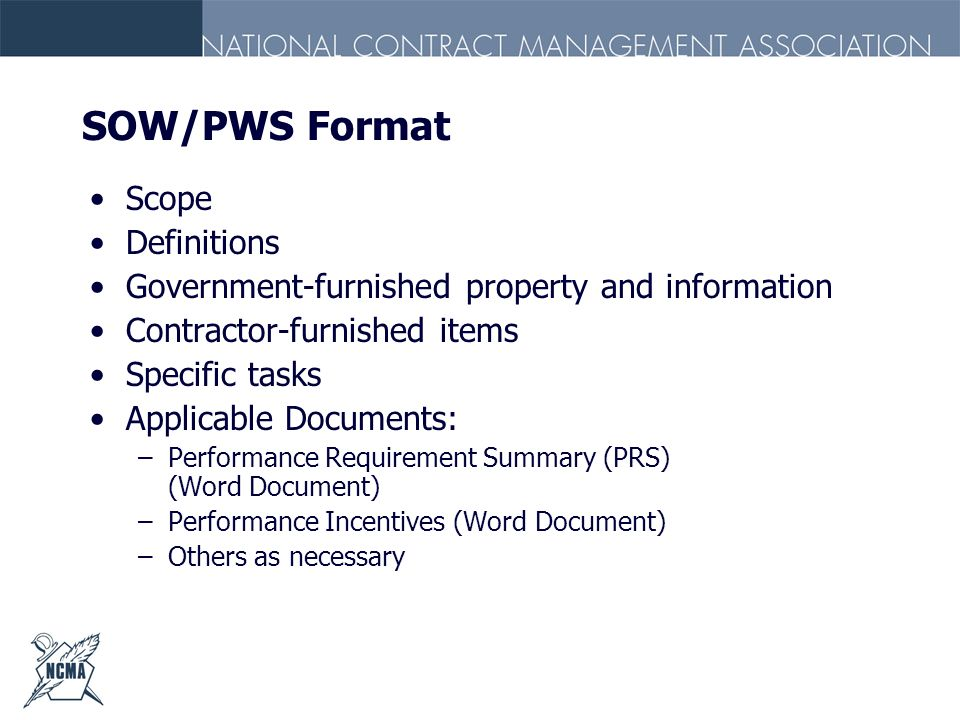SOW/PWS Format Scope Definitions