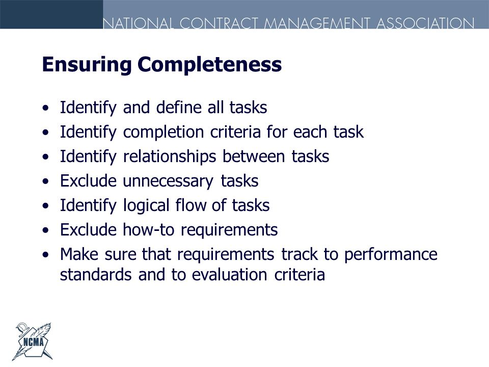 Ensuring Completeness