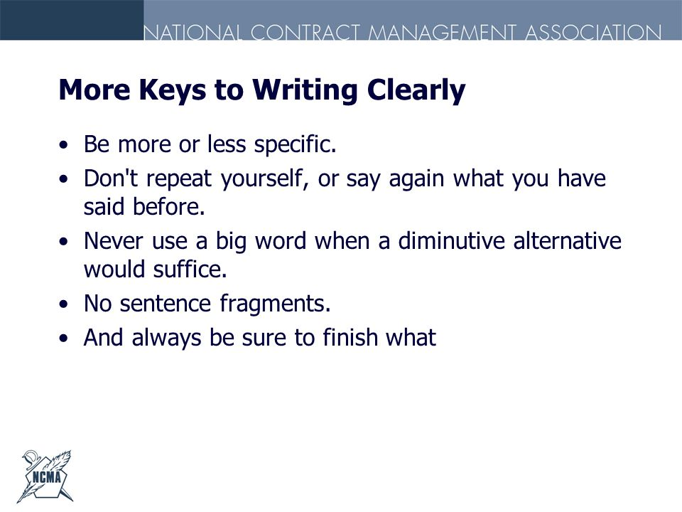 More Keys to Writing Clearly