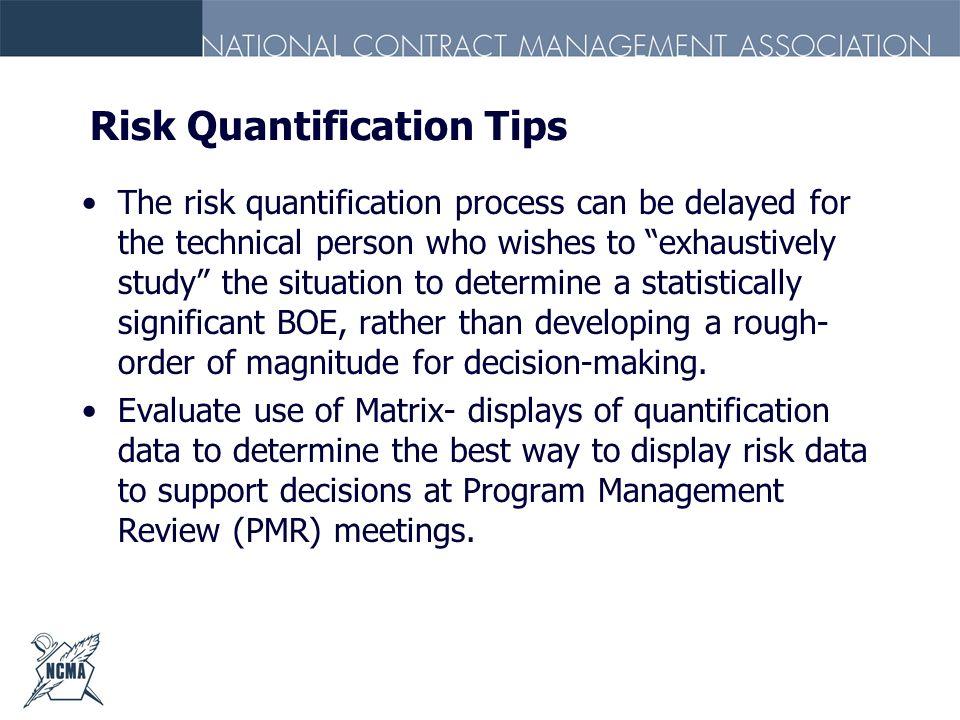 Risk Quantification Tips