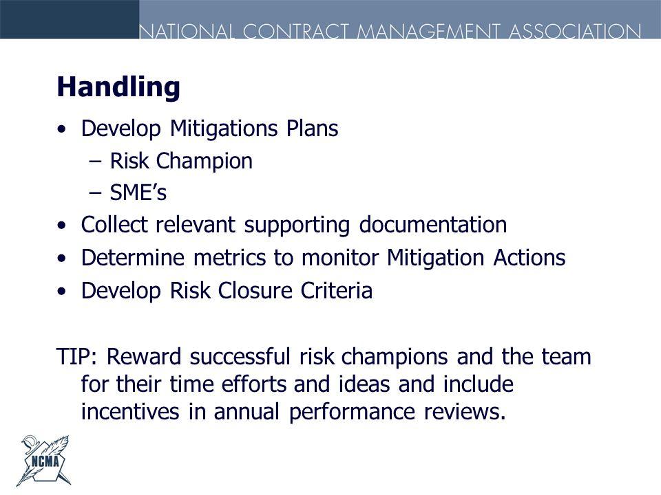 Handling Develop Mitigations Plans