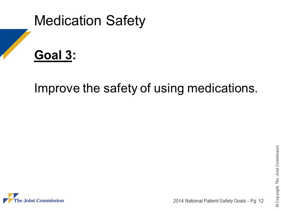 Medication Safety Goal 3: Improve the safety of using medications.