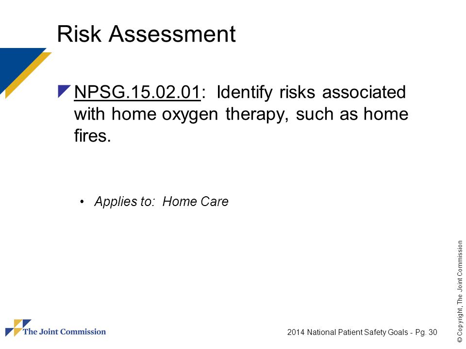 Risk Assessment NPSG.15.02.01: Identify risks associated with home oxygen therapy, such as home fires.