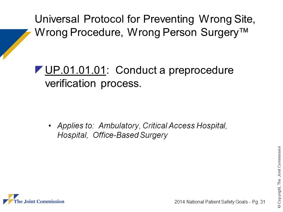 UP.01.01.01: Conduct a preprocedure verification process.