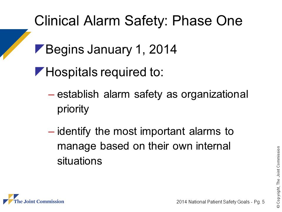 Clinical Alarm Safety: Phase One