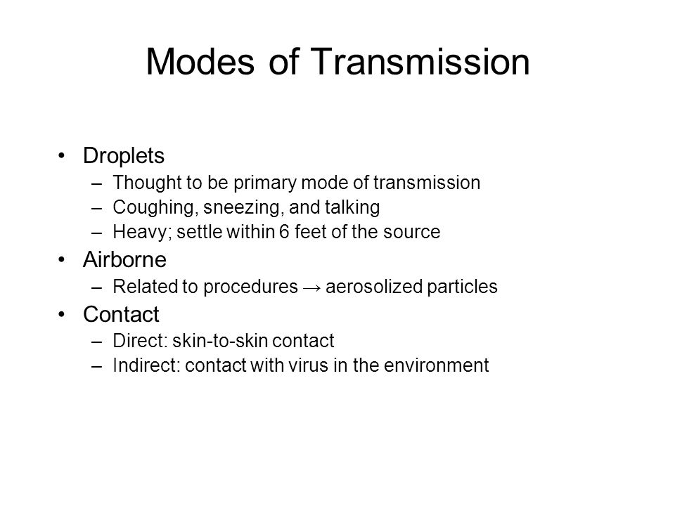 Modes of Transmission Droplets Airborne Contact