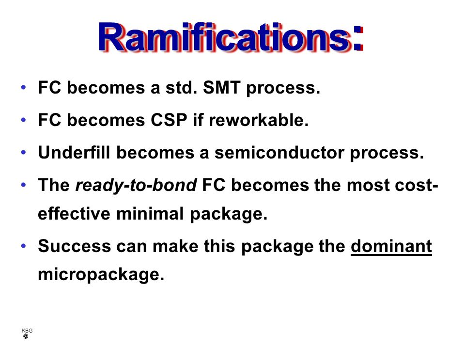 Ramifications: FC becomes a std. SMT process.