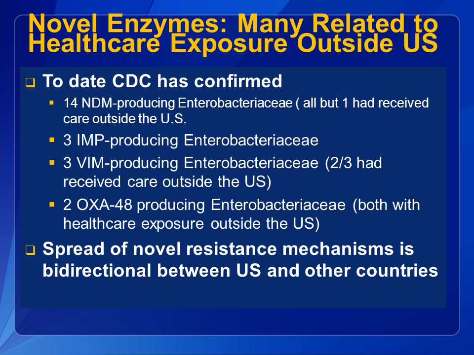Novel Enzymes: Many Related to Healthcare Exposure Outside US
