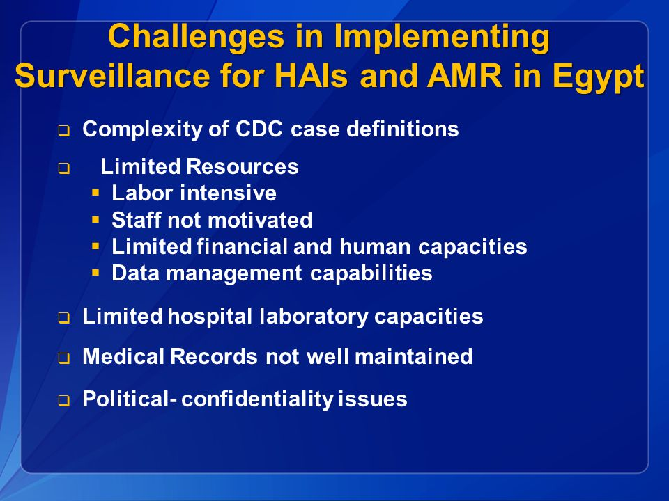 Challenges in Implementing Surveillance for HAIs and AMR in Egypt