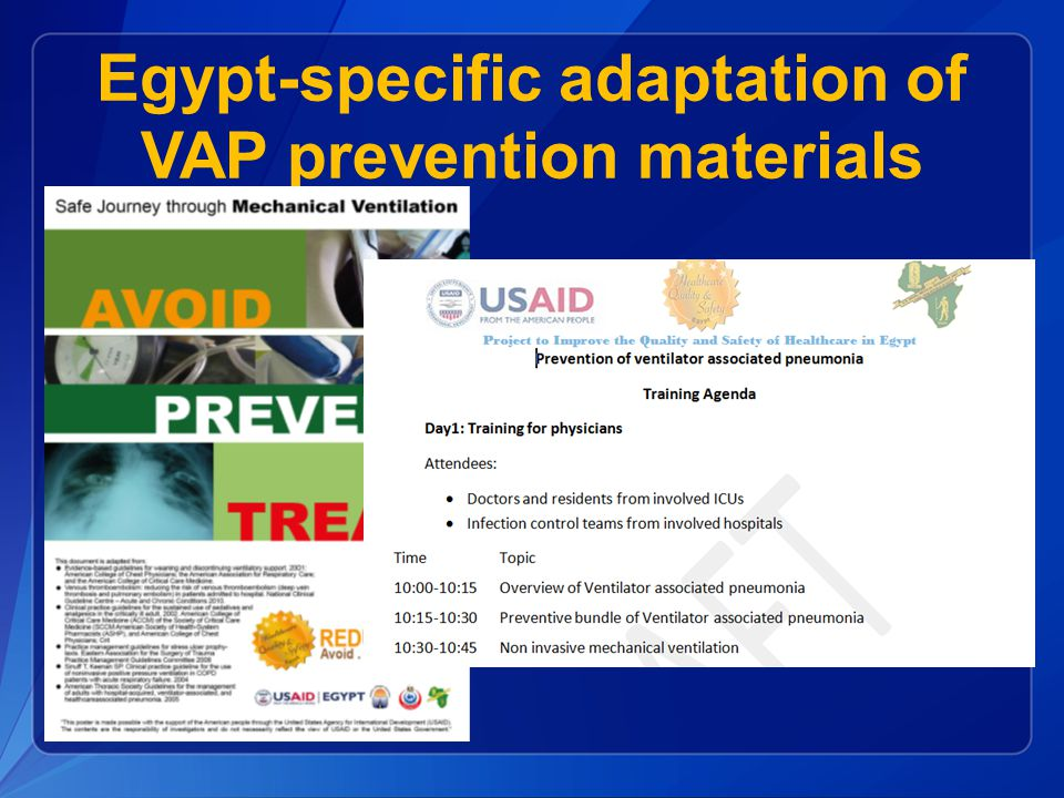 Egypt-specific adaptation of VAP prevention materials
