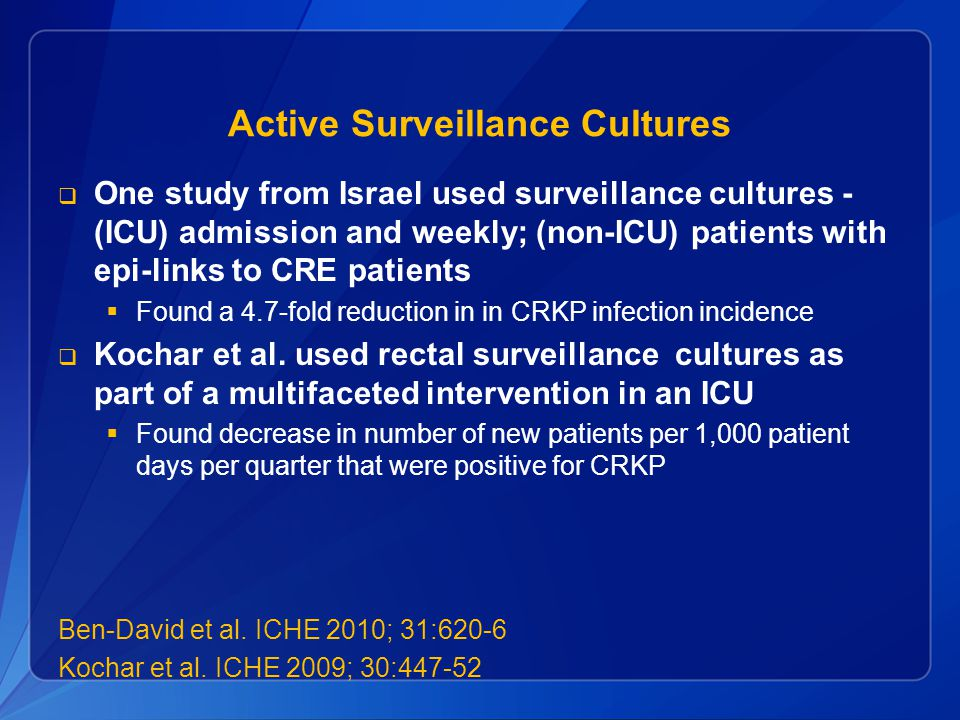 Active Surveillance Cultures