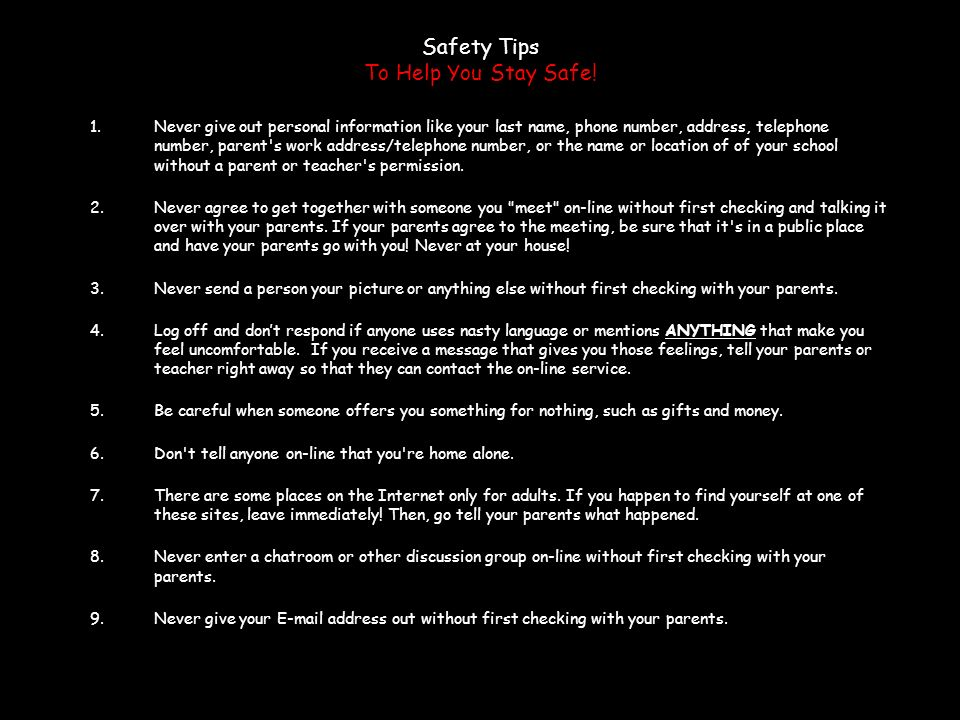 Safety Tips To Help You Stay Safe!