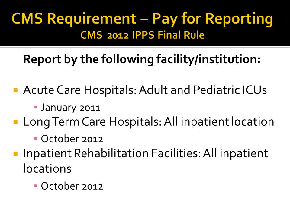CMS Requirement – Pay for Reporting CMS 2012 IPPS Final Rule