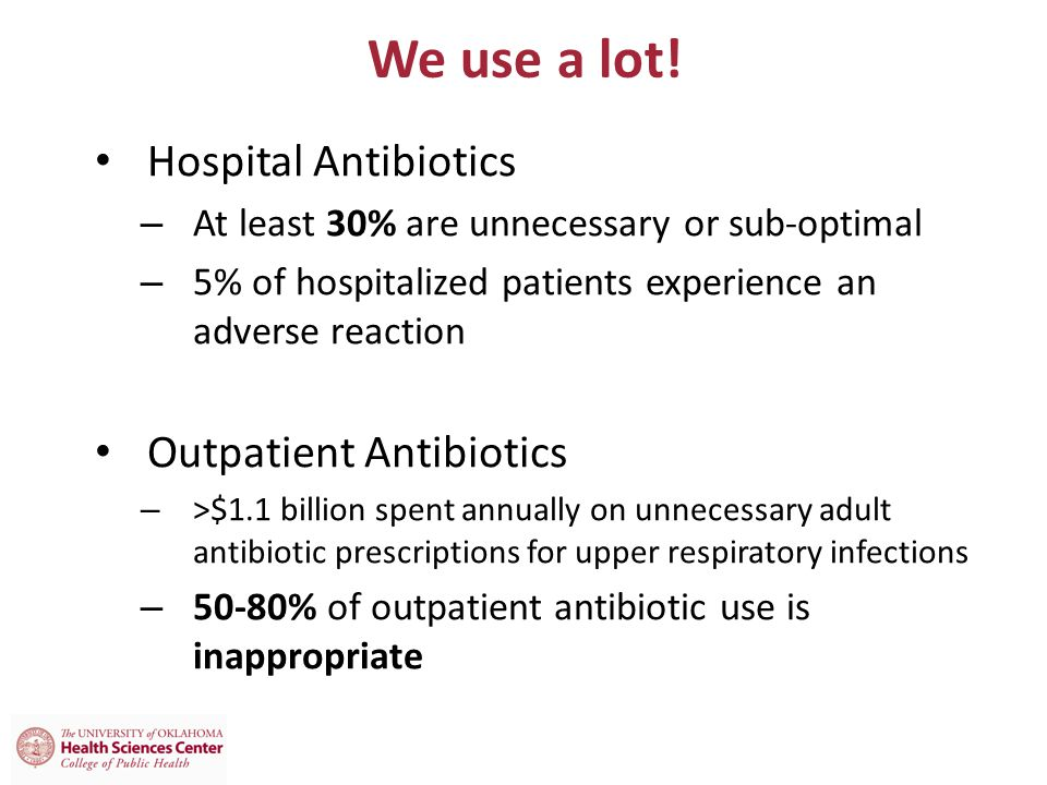 We use a lot! Hospital Antibiotics Outpatient Antibiotics