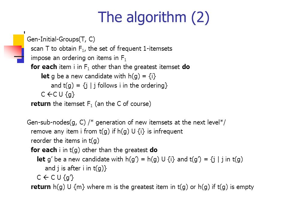The algorithm (2) Gen-Initial-Groups(T, C)
