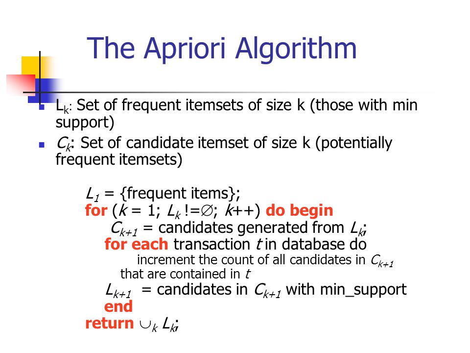 The Apriori Algorithm Lk: Set of frequent itemsets of size k (those with min support)