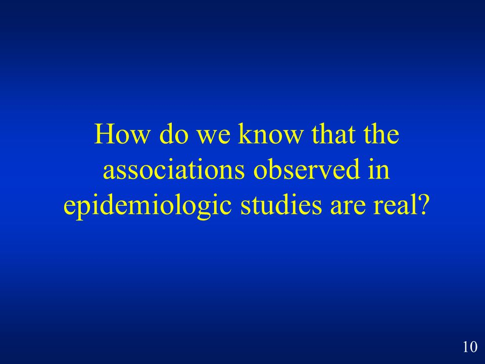 How do we know that the associations observed in epidemiologic studies are real
