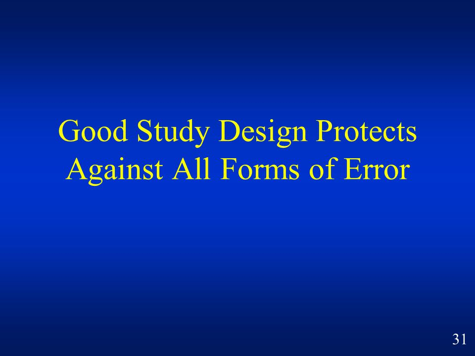 Good Study Design Protects Against All Forms of Error