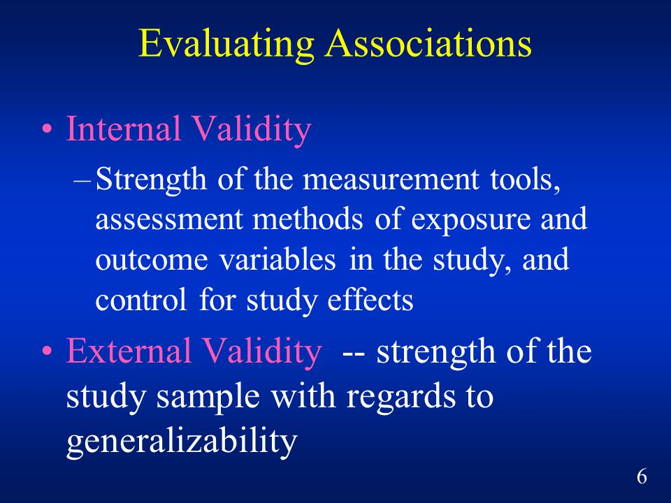 Evaluating Associations