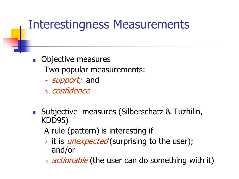 Interestingness Measurements