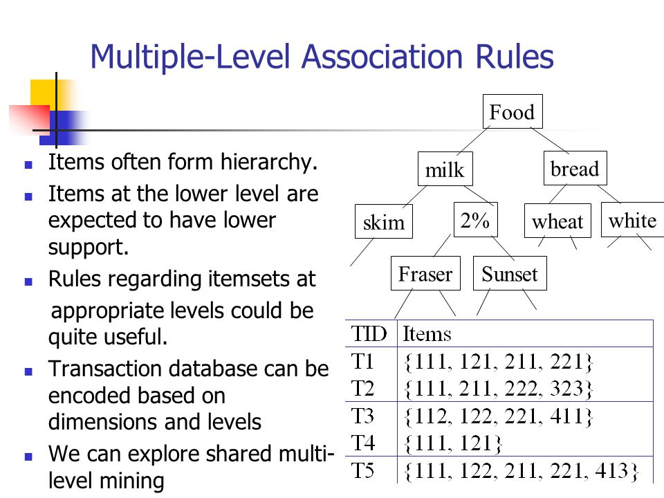Multiple-Level Association Rules