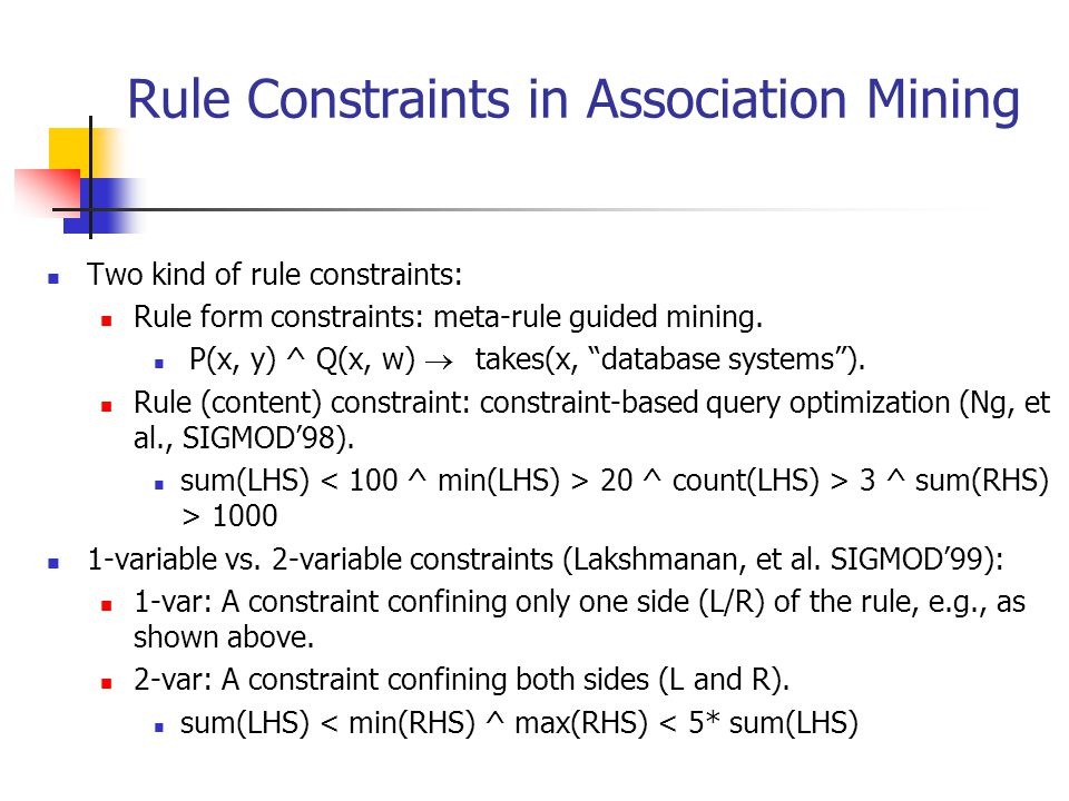 Rule Constraints in Association Mining