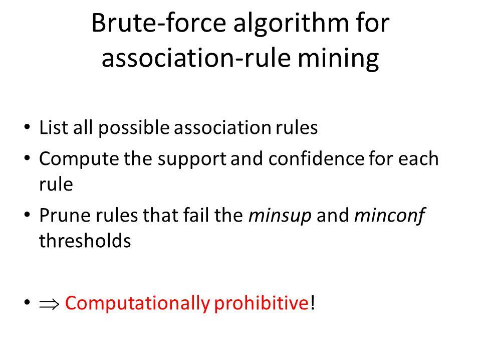 Brute-force algorithm for association-rule mining