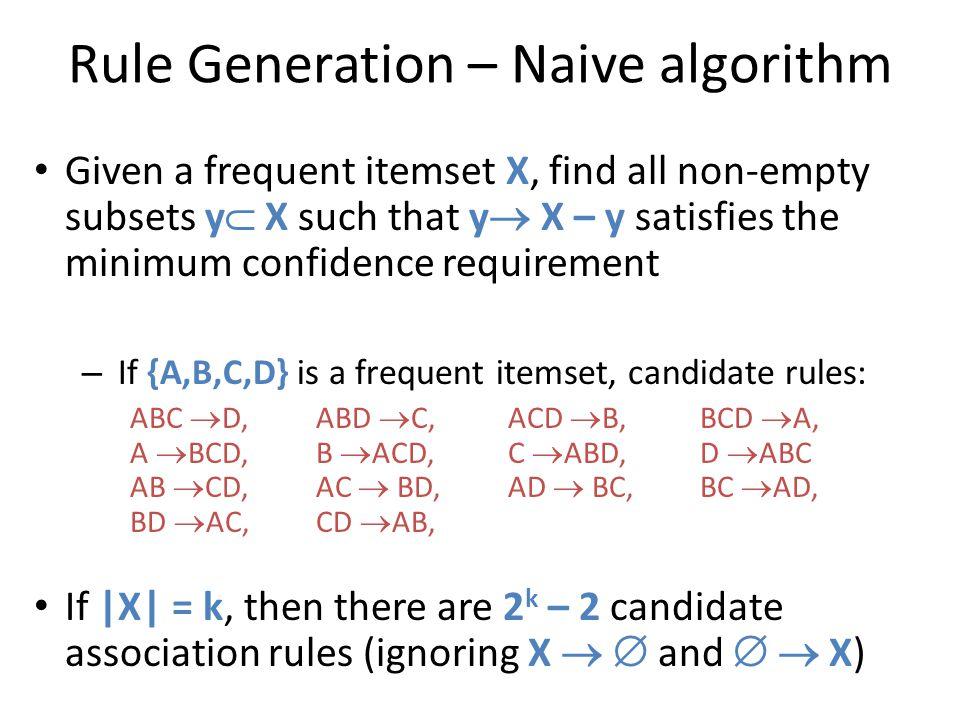 Rule Generation – Naive algorithm