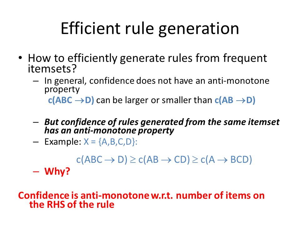 Efficient rule generation