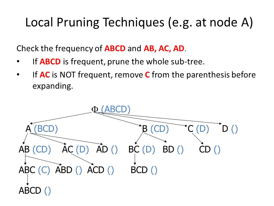 Local Pruning Techniques (e.g. at node A)