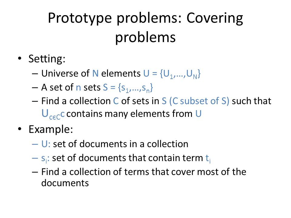 Prototype problems: Covering problems