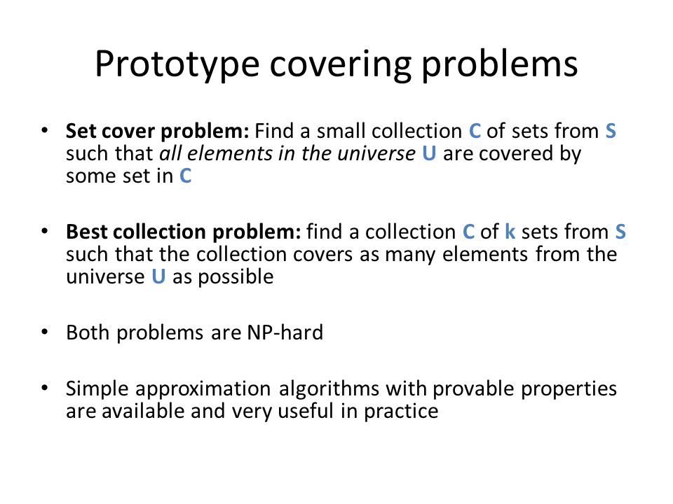 Prototype covering problems