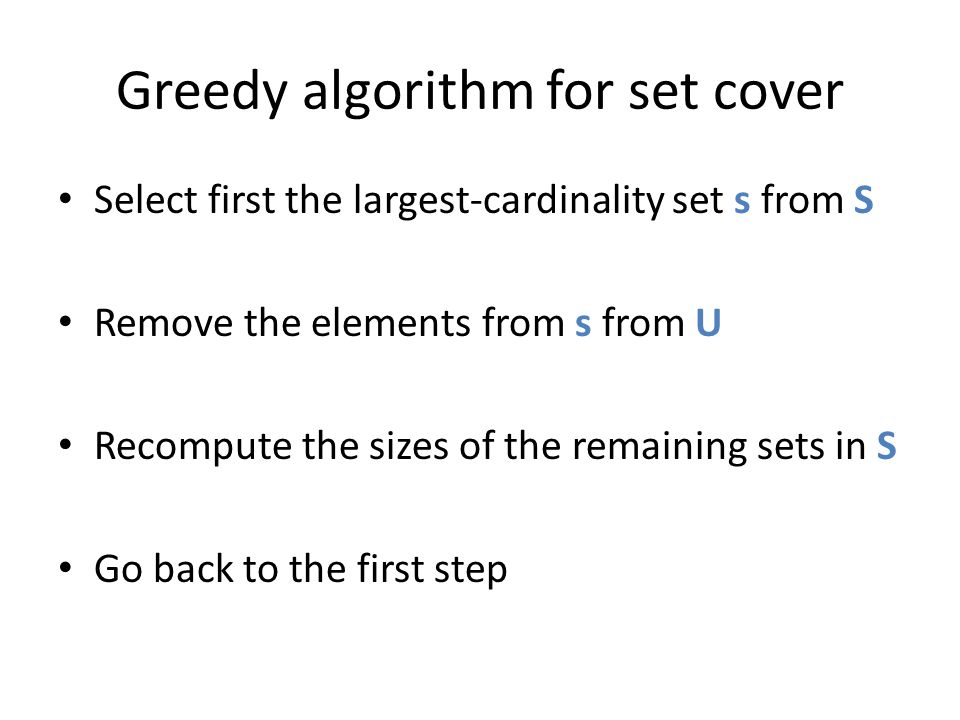 Greedy algorithm for set cover