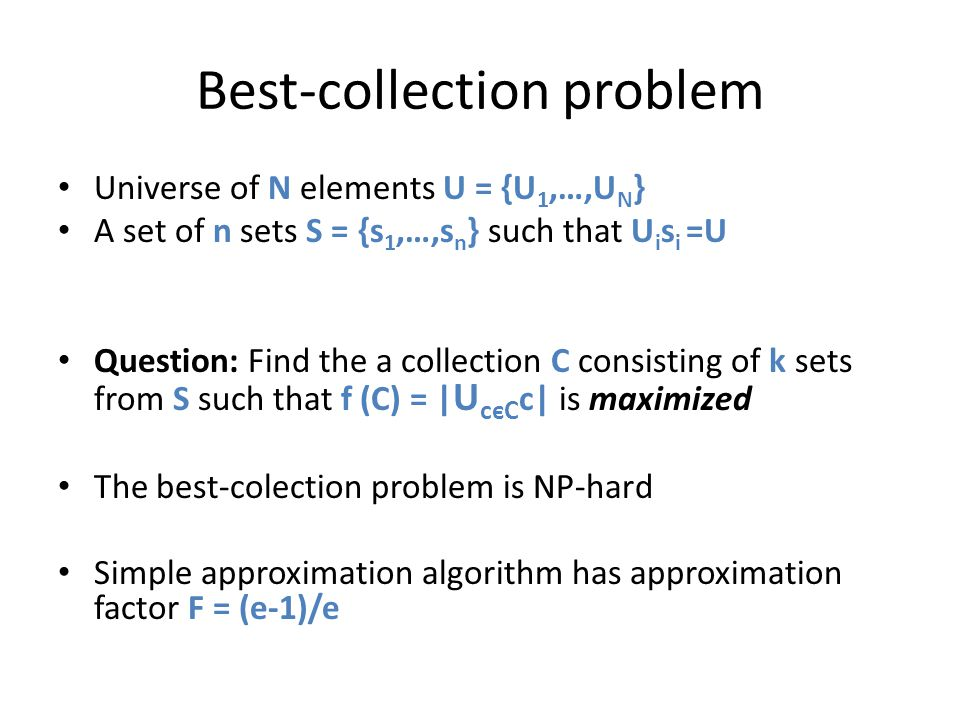 Best-collection problem