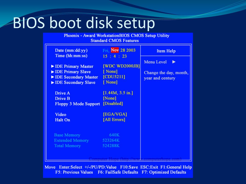 BIOS boot disk setup