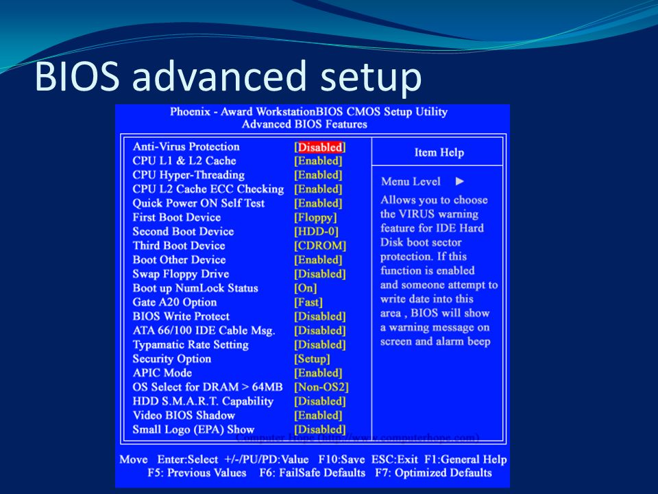 BIOS advanced setup