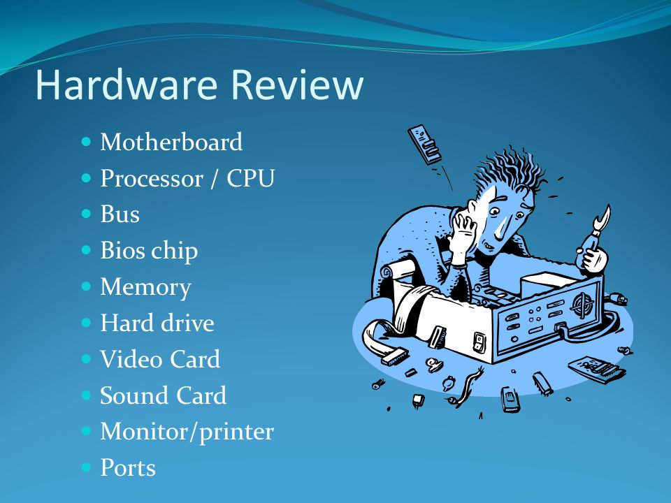 Hardware Review Motherboard Processor / CPU Bus Bios chip Memory