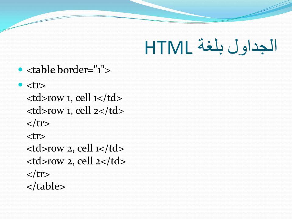 الجداول بلغة HTML <table border= 1 >