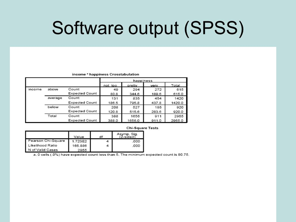 Software output (SPSS)