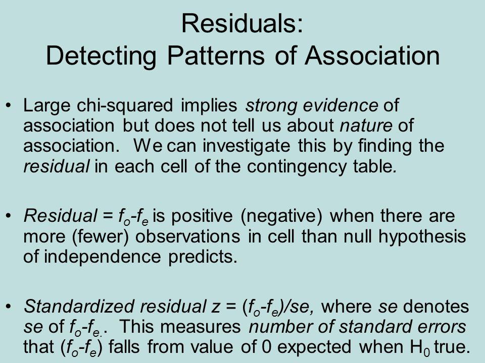 Residuals: Detecting Patterns of Association