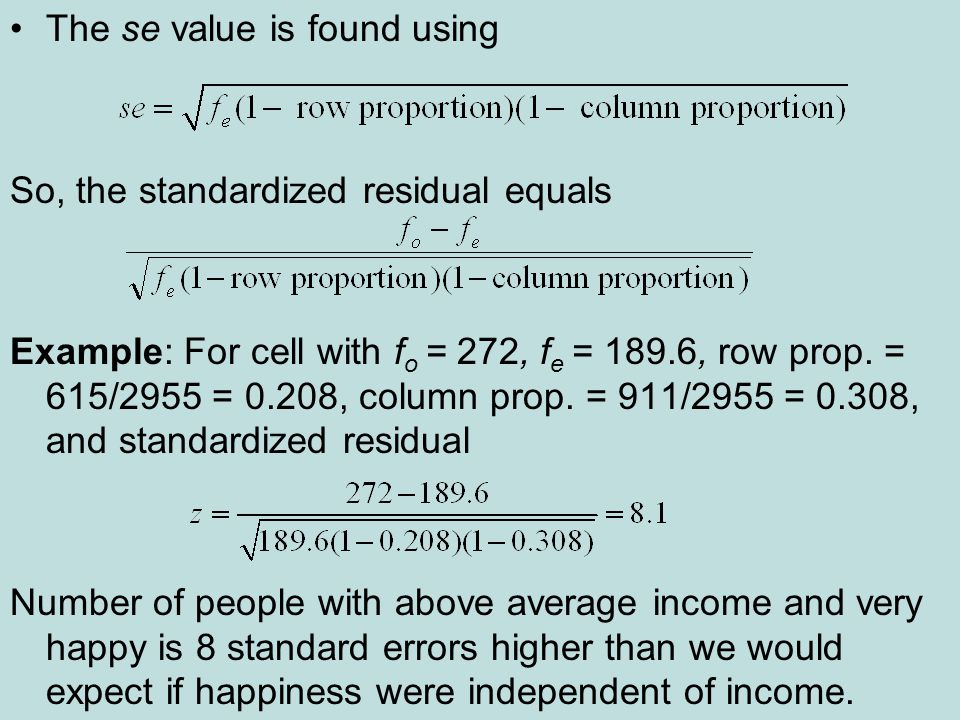 The se value is found using