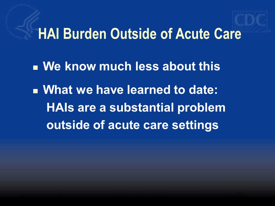 HAI Burden Outside of Acute Care