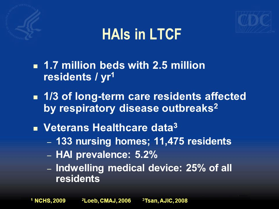 HAIs in LTCF 1.7 million beds with 2.5 million residents / yr1